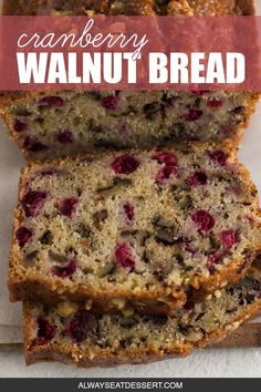hours · Vegetarian · Makes 1 loaf · A little tangy, a little crunchy, and totally delicious, cranberry walnut bread is perfect for the holidays! This easy sweet bread recipe makes a tasty Christmas morning breakfast and an impressive… Quick Bread Recipes, Sweet Recipes, Baking Recipes, Dessert Recipes, Breakfast Bread Recipes, Recipe For Sweet Breads, Cranberry Breakfast Recipes, Cleaning Recipes, Holiday Bread