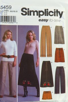 Simplicity 5459 Misses' Pants in Two Lengths or Shorts and Skirt in Three Lengths