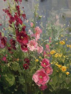 """Hollyhock Bouquet"" By Stacey Peterson Fine Art (American, oil on panel: 12 x 9 in Garden Painting, Impressionist Paintings, Arte Floral, Abstract Flowers, Botanical Art, Beautiful Paintings, Painting Inspiration, Flower Art, Watercolor Paintings"