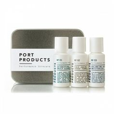 PORT PRODUCTS TRAVEL KIT - The complete Port Products grooming solution in a convenient travel size: Detoxifying Face Cleanser, Face Saving Shave Formula and Balancing Daily Moisturizer.