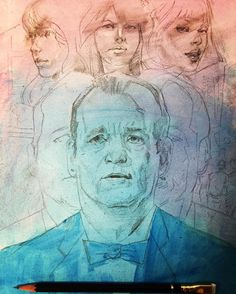 """Posted by marcscheff : #underdrawing for something simple for #monthoflove """"lost in translation"""" challenge. Using it as an excuse to practice faces/likenesses. I think I drew this 4 times before not hating it.  #lostintranslation #billmurray #scarlettjohannsen #movie #poster #drawing #pencil #blue #pink #woman #man #portrait #hero #art #instaart #instagood #instamovie"""