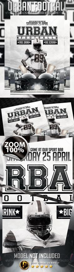 Football Flyer Font logo, Flyer template and Fonts - black and white flyer template