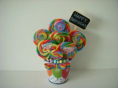 Click here for more lollipop inspired items! Lollipop Birthday Arrangement for $19.99, Lollipop Bouquet, Rainbow, Happy Birthday, Candy Bouquet, Candy Arrangement, Custom Birthday Gift, Birthday Centerpiece, Kids, Boy, Girl, Unisex
