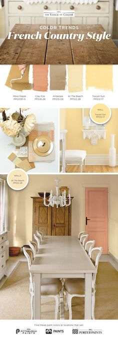 French Country Color Palette! You don't need a getaway in Provence to feel that quaint French countryside cottage charm. Bring the French countryside to you with these cottage inspired hues recreating the sense of relaxed tranquility of rural life abroad. To achieve a French Country style create harmonies of faded neutrals that have a vintage, worn with the time spirit, such as parchment white, an antiqued gold, or a sandy beige.