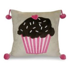 -Thro Ltd. Cupcake Applique Pillow, Pink