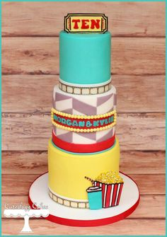 retro movies/cinema themed cake www.facebook.com/i.love.cuteology.cakes