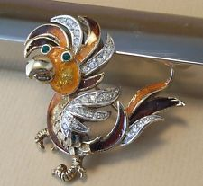 Vintage Attwood & Sawyer Enamel Rhinestone Bird Brooch