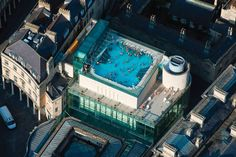 Thermae Bath Spa  Bath, UK    Thermae Bath Spa is a Millennium project designed by Grimshaw, marking the revitalisation of the city's spa quarter. It comprises a new building and the sensitive environmental restoration of five listed buildings, including the Cross Bath, the Hot Bath and the Hetling Pump Room design by Grimshaw via http://grimshaw-architects.com