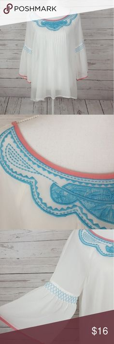 """Bell sleeve embroidered sheer blouse This Nine West Vintage America sheer white/pink/turquoise top is in excellent pre-loved condition and is super flattering  Bust measures approx 20.5"""" across  Total length is approx 25.5"""" Tops Blouses"""