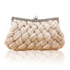 SALE Perfect for a Wedding Woven Nude Evening Bag Clutch ($38) ❤ liked on Polyvore featuring bags, handbags, clutches, hand bags, nude purses, pink handbags, clasp purse and nude clutches