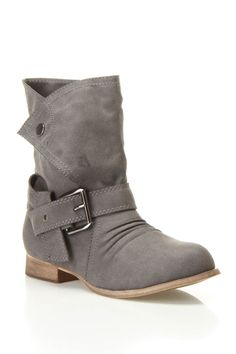 Gray Boot with Ankle Buckle Wrap.