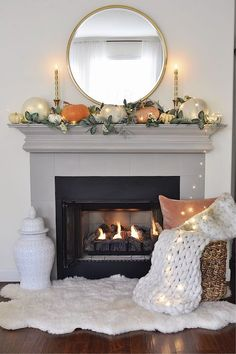 Fall mantel decor- 2 Ladies & A Chair In California the fall season has the best weather. It's the perfect time for fall entertaining outdoors. So many of my Californian friends, including myself, were married in October because of the fabulous weather. Fall Fireplace Decor, Fall Mantel Decorations, Mantel Ideas, Thanksgiving Decorations, Mantal Decor, Christmas Fireplace, Modern Fireplace, House Decorations, Fireplace Design