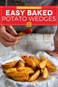 Baked Crispy Potato Wedges are a perfect side dish! They are crispy on the outside but soft on the inside and so tasty. #SundaySupper #potatowedges #crispy #bakedpotatowedges #wedges #crispywedges #bakedwedges #sidedish Crispy Baked Potato Wedges, Easy Baked Potato, Roasted Potato Wedges, Potato Wedges Recipe, Crispy Potatoes, Tasty Potato Recipes, Side Dish Recipes, Beef Recipes, Healthy Recipes