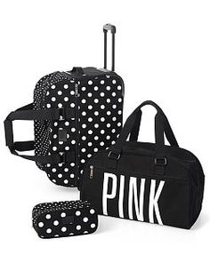 My luggage I have currently is ruined from previous trips-- Def need this please!!!:) Packing made easy as 1, 2, 3! The 3-Piece Travel Set from Victoria's Secret PINK keeps all your stuff safe and looks cute doing it. Perfect for the fashionable girl on the go, in durable cotton canvas. The set includes medium wheelie, duffle and makeup case.