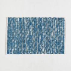 Painter's Cotton-Wool Rug, 6'x9', Aquamarine