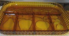 Vintage Indiana Amber Divided Relish Plate Tidbit Dish Fruit Design