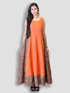 Peach Georgette & Kalamkari Gown Kasturi-B