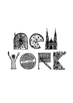 i like that it is hand drawn, and each letter has an representation of something in new york