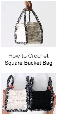 Crochet Square Bucket Bag - Crochet Kingdom Crochet Bag Tutorials, Crochet Purse Patterns, Bag Crochet, Crochet Market Bag, Crochet Handbags, Crochet Purses, Crotchet Bags, Diy Bags Patterns, Crochet Instructions