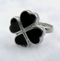 Black Clover Handmade Fashion Adjustable Button Ring Unique Mint Condition   #Unbranded
