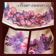 Cosmo flowers tattoo for cover up tummy scar on stomach