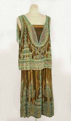 Ephemeral-Elegance:  Turquoise Beaded Lamé Evening Dress, ca. 1923 House of Worth via Vintage Textile