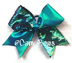 Cheer Bow Reversible Sequin Blue Green Gold and Black by CamyBows