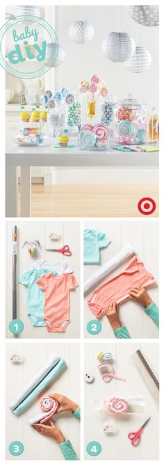 "Here's a sweet DIY idea for the next baby shower you throw. Turn newborn bodysuits into ""candies"" in a few simple steps. Find everything you'll need, wrapping paper, cellophane, ribbons and more, at T (Regalos Diy Ideas) Baby Party, Baby Shower Parties, Baby Shower Themes, Baby Shower Decorations, Shower Ideas, Bebe Shower, Baby Boy Shower, Baby Shower Gifts, Baby Shower Hamper"