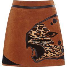 Alberta Ferretti Animal Print Suede Skirt (7.365 BRL) ❤ liked on Polyvore featuring skirts, mini skirts, a-line skirt, brown a line skirt, suede skirt, high-waisted skirts and brown suede mini skirt