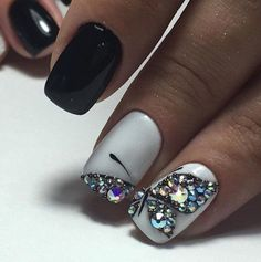 Autumn nails Black and white nail art Contrast nails Evening nails Evening nails by shellac Two color nails Two-color short nails Manicure Nail Designs, Manicure E Pedicure, Diy Nails, Nail Art Designs, Nail Nail, Fancy Nails, Love Nails, Pretty Nails, Black And White Nail Art