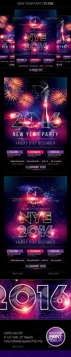 New Year Party Flyer is unique and colourful party flyer,It is perfect for any kind of your parties, the main file include .psd file (Photoshop file) It is very easy to edit all the text colours images etc. File Feature: Hight Quality Graphics with New Years Eve Decorations, Champagne Party, New Year 2018, Club Parties, Business Icon, Colorful Party, Party Flyer, New Years Party, Anniversary Parties