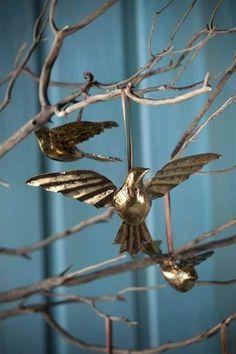 Hanging Gold Metal Birds by Vagabond Vintage