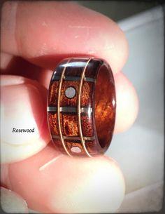 Guitar Fretboard Bentwood Ring Ebony Rosewood by JaredsRingShop