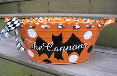 Personalized Halloween tubs-many designs available.