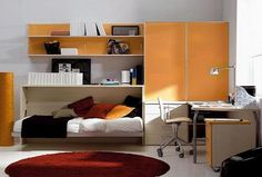 Bedroom:Inspiring Kids Room Design With White Sofa Bed And Yellow Cabinet Red Carpet White Desk By Adsara Wonderful Kids Bedroom Designed wi. Cheap Bedroom Sets, Cheap Bedroom Furniture, Space Furniture, Kids Bedroom Designs, Kids Room Design, Cool Kids Bedrooms, Girl Bedrooms, Teen Bedroom, Kids Rooms