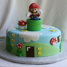 Super Mario Bros Cake This cake was for my son Noah's birthday. I made a Super Mario Bros. Cake based on the game. The actual. Mario Bros Kuchen, Mario Bros Cake, Luigi Cake, Mario Kart Cake, Bolo Do Mario, Bolo Super Mario, Mario Birthday Cake, Super Mario Birthday, Birthday Cakes