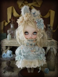 adorable blue rabbit outfit by Milk Tea #Blythe