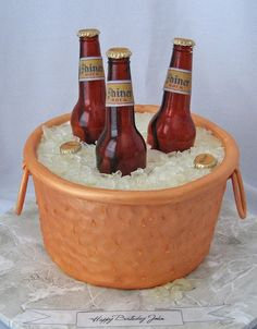 "Copper Beer Tub Cake ~ Fondant ""hammered copper"" tub holds molded sugar bottles and  ice"