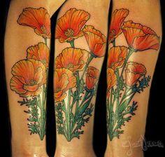 California Poppy Flower Tattoo