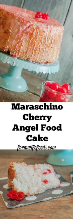 This cake, this Maraschino Cherry Angel Food Cake is so fluffy and sweet and cherry flavored and so super easy you might make it twice in 3 days just because it's that good and that easy!