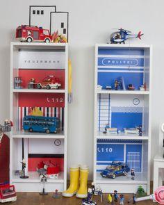+Wandtattoo passend für das zwei schmale IKEA Billy Regal (T28xB40xH106)+ Die DIY Feuerwache und Polizeistation sind für das Kinderzimmer aller kleinen Alltagshelden ideal, denn der Berufswunsch...