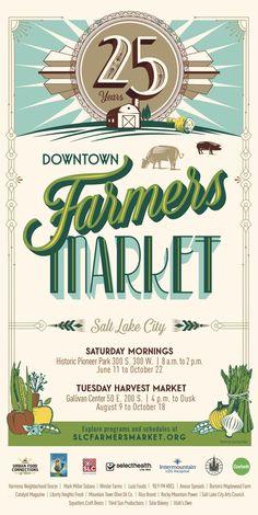 Salt Lake City Downtown Farmers Market posters #farmersmarket #posters #art Graphic Design Fonts, Typography Design, Logo Design, Food Drive Flyer, Downtown Farmers Market, Harvest Market, Canning Jar Labels, Visual Communication Design, Design Food