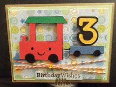handmade card from Nana's Scrap Spot: Little Prince Blog Hop ... cute cutout train hauling the number three ...