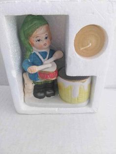 Vintage Jasco Bisque Porcelain Drummer Boy Christmas Luvkins Candle Holder 1978 CheepChicky 99 CENT AUCTION