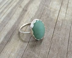Jade and Fine Silver Ring Size 8 Silver Ring by LeafRiverJewelry, $62.00