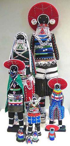 Beaded dolls from Durban wearing Zulu garb - South African Design.