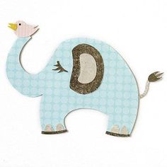 Design by Vicki Boutin Add detail to an elephant piecing by trimming eyelashes, an ear, toes, and a tail from patterned paper.  SOURCES: Patterned paper: BasicGrey (light gray, dark gray), Pink Paislee (yellow), Three Bugs in a Rug (blue dot). Adhesive: Tombow.