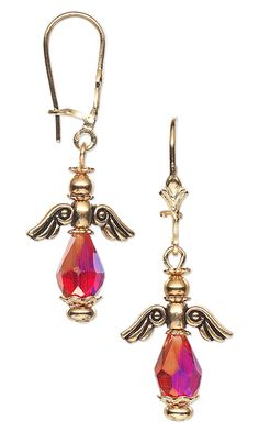 Angel Wing Earrings with Glass Beads and Gold-Plated Beads and Bead Caps