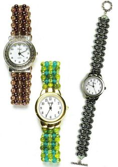 Watch with a bracelet of beads