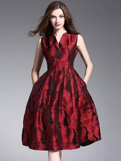 c5eb59bc6b New 2017 Spring Women Dress Fashion Elegant Slim Sleeveless Jacquard Party  Dress European Style Vintage Slim Waist Red Dresses